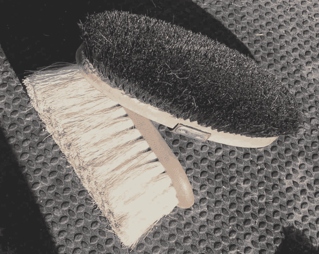 Soft brushes to groom a horse