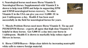 6 to 8, List of Horse Problems Vitamin E Helps With