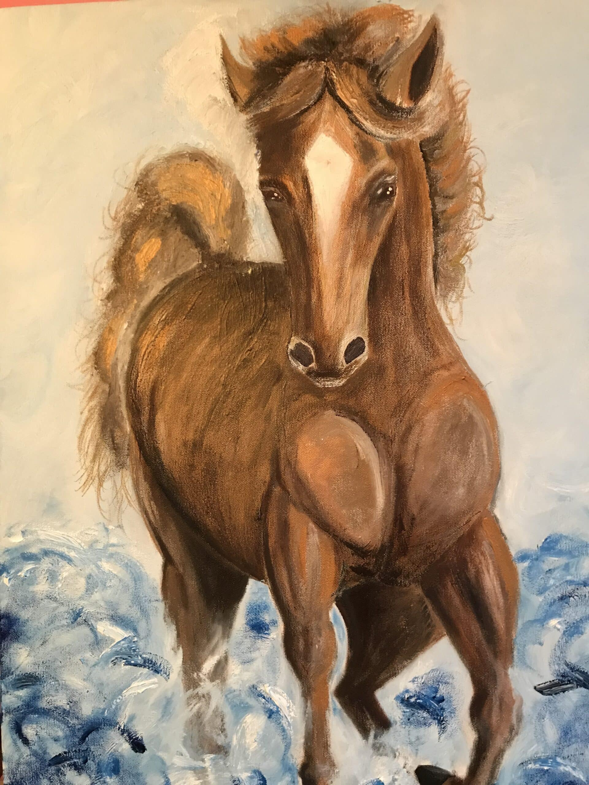 Golden Horse In Water Artwork