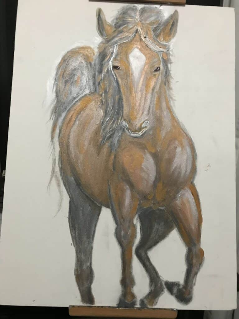 golden horse in water artwork stage 2