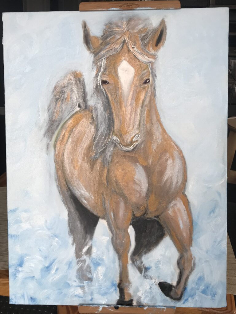 golden horse in water artwork stage 3