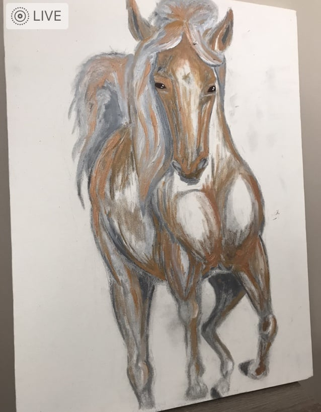 golden horse in water artwork stage 1