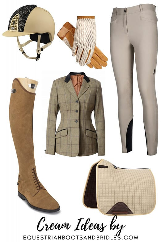 Classy Equestrian Wear: Cream-Colored Horse Riding Clothes
