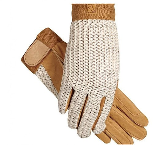 Classy Horse Riding Clothes - Crochet Cream and Tan Riding Gloves