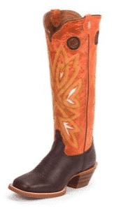 Western Wear - Tony Lama Ladies Square Toe Magnolia Orange Boots