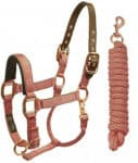 Derby Originals Rose Gold Reflective Safety Horse Stable Halters with Matching Lead
