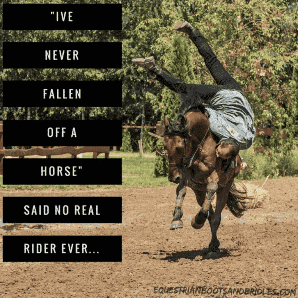 I've never fallen off a horse said no real rider ever meme by equestrian boots and bridles
