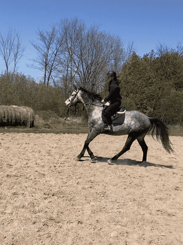 Rudy and I cantering outside